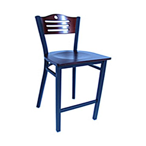 Metal Frame Wood Saddle Restaurant Chair (High)