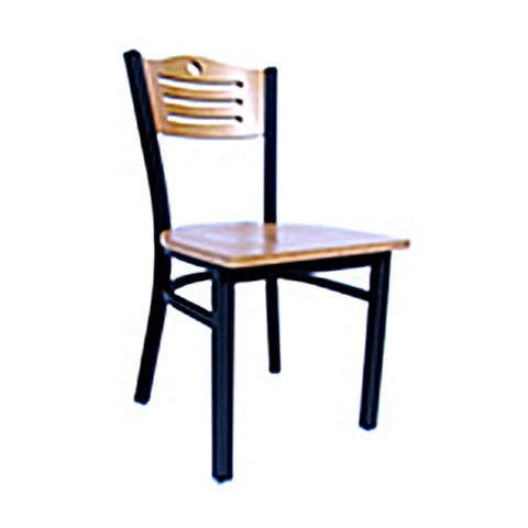Metal Frame Wood Saddle Restaurant Chair