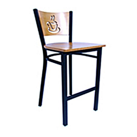 Coffee Cup Metal Frame Wood Saddle Chair (High)